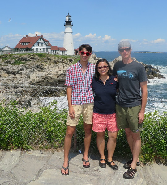 Beck, Quinn and Brandon at Portland Head Light in Portland, Maine